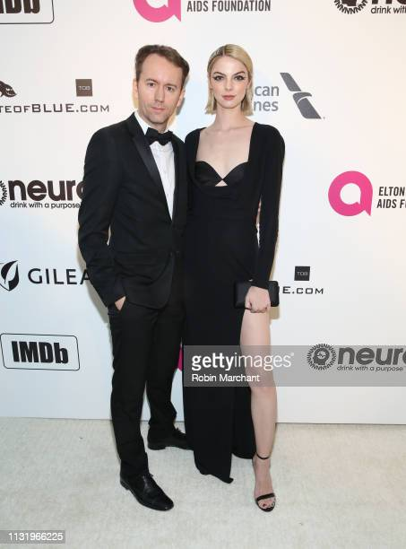 Tyler Shields and Allie Evans attend 27th Annual Elton John AIDS Foundation Academy Awards Viewing Party Celebrating EJAF And The 91st Academy Awards...