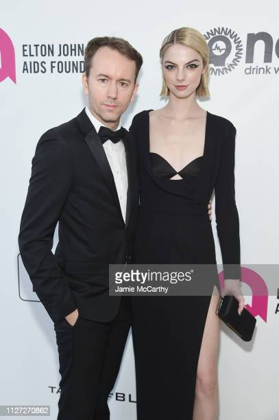 Tyler Shields and Allie Evans attend the 27th annual Elton John AIDS Foundation Academy Awards Viewing Party sponsored by IMDb and Neuro Drinks...