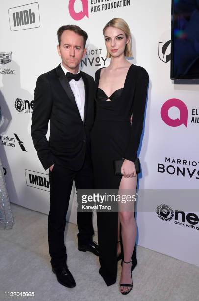 Tyler Shields and Allie Evans attend the 27th annual Elton John AIDS Foundation Academy Awards Viewing Party Celebrating EJAF And The 91st Academy...