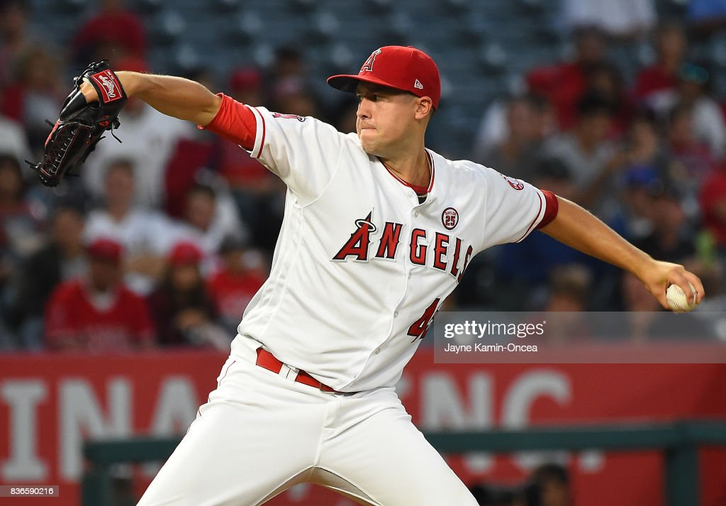 Tyler Skaggs #45 of the Los Angeles Angels of Anaheim in the second inning of the game against the Texas Rangers at Angel Stadium of Anaheim on August 21, 2017 in Anaheim, California.