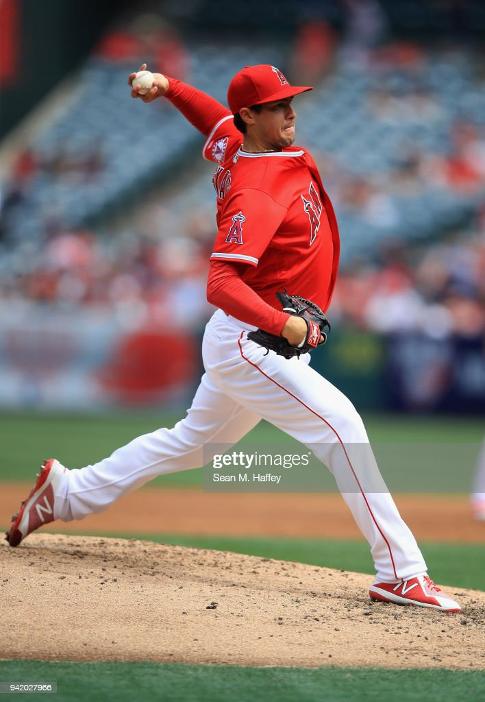 Tyler Skaggs #45 of the Los Angeles Angels of Anaheim pitches during the third inning of a game against the Cleveland Indians at Angel Stadium on April 4, 2018 in Anaheim, California.