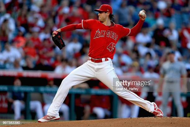 Tyler Skaggs of the Los Angeles Angels of Anaheim pitches during the first inning of a game against the Seattle Mariners at Angel Stadium on July 12...