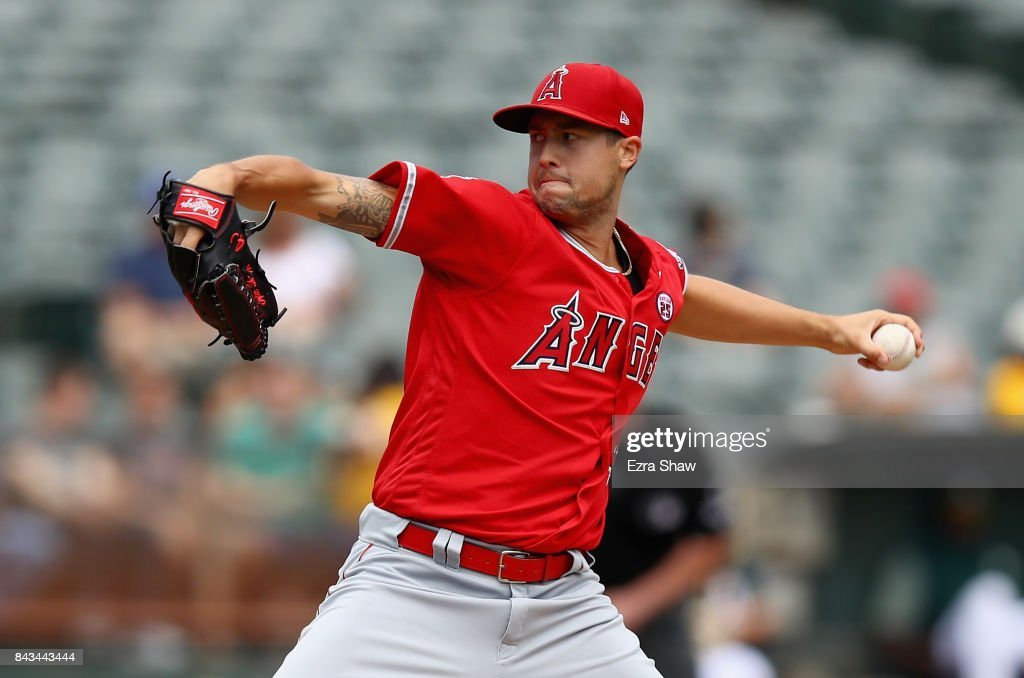Tyler Skaggs #45 of the Los Angeles Angels pitches against the Oakland Athletics in the first inning at Oakland Alameda Coliseum on September 6, 2017 in Oakland, California.