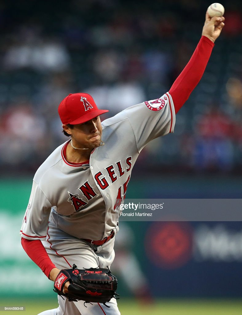 Tyler Skaggs #45 of the Los Angeles Angels throws against the Texas Rangers in the first inning at Globe Life Park in Arlington on April 10, 2018 in Arlington, Texas.
