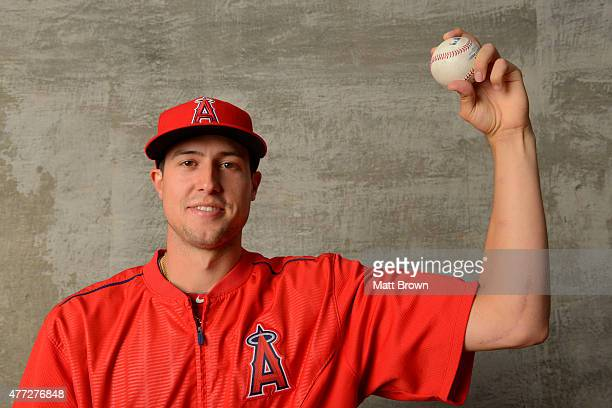 Tyler Skaggs of the Los Angeles of Anaheim poses for a portrait while displaying the scar from a 2014 Tommy John surgery at Angel Stadium of Anaheim...