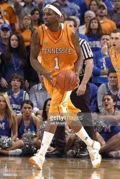 Tyler Smith of the Tennessee Volunteers looks to pass against the Memphis Tigers at FedExForum on February 23, 2008 in Memphis, Tennessee. Tennessee...
