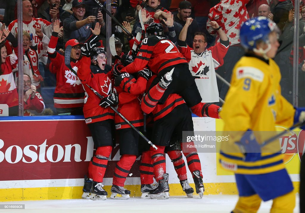 Tyler Steenbergen #17 of Canada celebrates after scoring the winning goal against Sweden during the Gold medal game of the IIHF World Junior Championship at KeyBank Center on January 5, 2018 in Buffalo, New York. Canada beat Sweden 3-1.