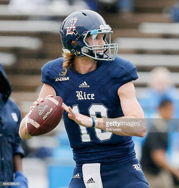 Tyler Stehling of the Rice Owls throws some warmup tosses before a game against the Army Black Knights at Rice Stadium on October 24 2015 in Houston...