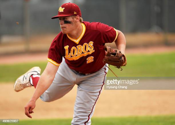 Tyler Stevens of Rocky Mountain High School pitches against Regis Jesuit High School at All City Stadium Denver Colorado May 24 2014 Rocky Mountain...