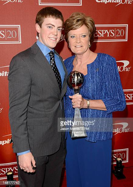 Tyler Summitt and former women's college basketball head coach Pat Summitt recipient of the Arthur Ashe Courage Award pose backstage during the 2012...