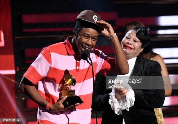 Tyler the Creator accepts Best Rap Album for Igor with his mother during the 62nd Annual GRAMMY Awards at Staples Center on January 26 2020 in Los...