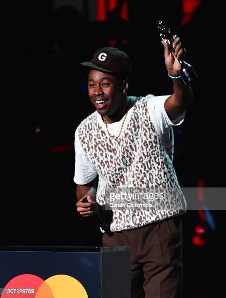 Tyler The Creator accepts the International Male Solo Artist award during The BRIT Awards 2020 at The O2 Arena on February 18 2020 in London England