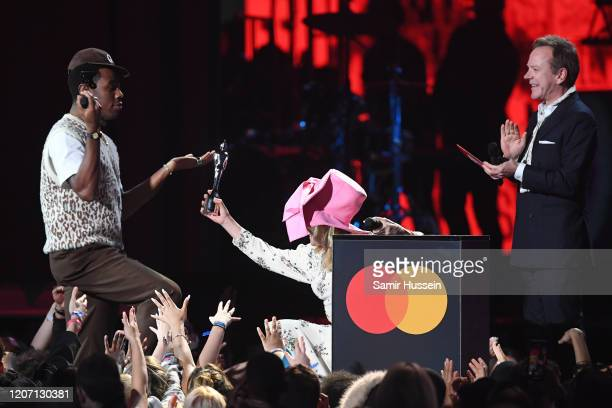 Tyler, The Creator accepts the International Male Solo Artist award from Paloma Faith during The BRIT Awards 2020 at The O2 Arena on February 18,...