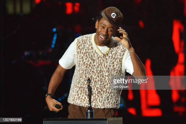 Tyler, The Creator accepts the International Male Solo Artist award during The BRIT Awards 2020 at The O2 Arena on February 18, 2020 in London,...