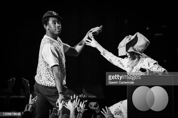 Tyler The Creator accepts the International Male Solo Artist award from Paloma Faith during The BRIT Awards 2020 at The O2 Arena on February 18 2020...