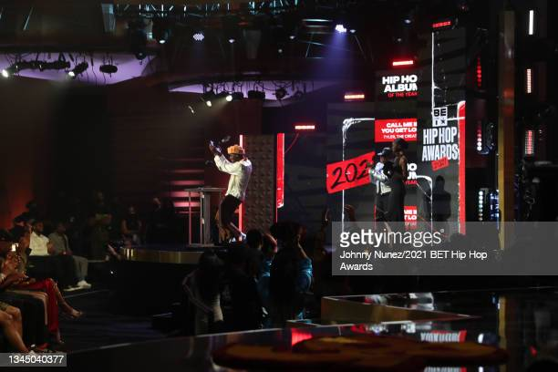 Tyler, the Creator accepts the 'Rock The Bells Cultural Influence Award' onstage during the 2021 BET Hip Hop Awards at Cobb Energy Performing Arts...
