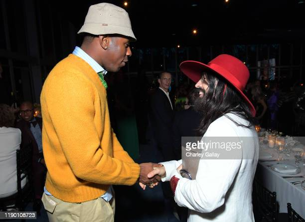 Tyler the Creator and Alessandro Michele both wearing Gucci attend the 2019 LACMA Art Film Gala Presented By Gucci at LACMA on November 02 2019 in...