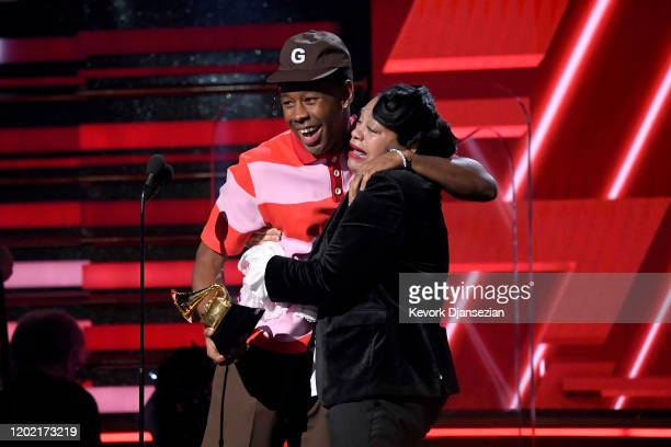 Tyler the Creator and his mother accept the Best Rap Album award for 'Igor' onstage during the 62nd Annual GRAMMY Awards at Staples Center on January...