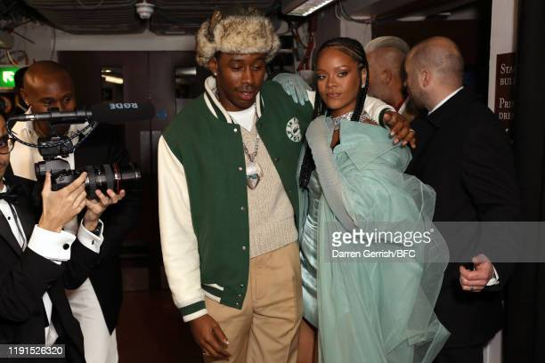 Tyler the Creator and Rihanna backstage stage during The Fashion Awards 2019 held at Royal Albert Hall on December 02 2019 in London England