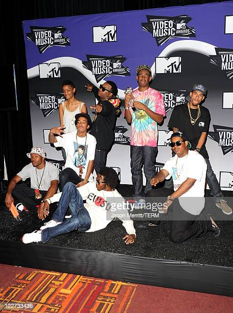 Tyler the Creator and the band Odd Future Wolf Gang Kill Them All winners of the Best New Artist Award for 'Yonkers' pose in the press room during...