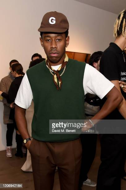 Tyler The Creator attends the Renell Medrano and WePresent opening preview of PAMPARA Photographic exhibition on February 17 2020 in London England