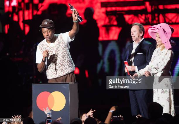 Tyler, The Creator is presented by Paloma Faith and Kiefer Sutherland with the International Male Solo Artist award during The BRIT Awards 2020 at...