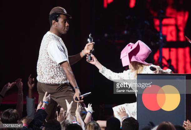 Tyler, The Creator is presented by Paloma Faith with the International Male Solo Artist award during The BRIT Awards 2020 at The O2 Arena on February...