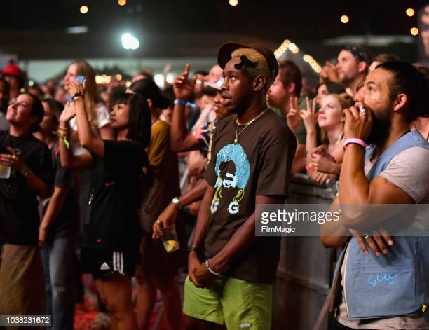 Tyler the Creator is seen as NERD performs on Downtown Stage during the 2018 Life Is Beautiful Festival on September 22 2018 in Las Vegas Nevada