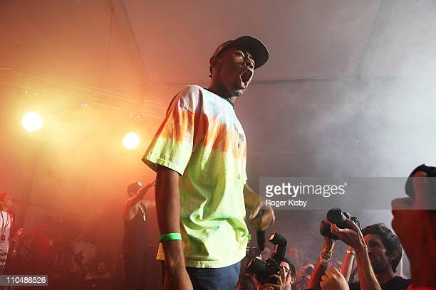 9ef3d1590c97 Tyler the Creator of Odd Future performs a surprise set at Fader Fort by  Fiat during. 2011 SXSW ...