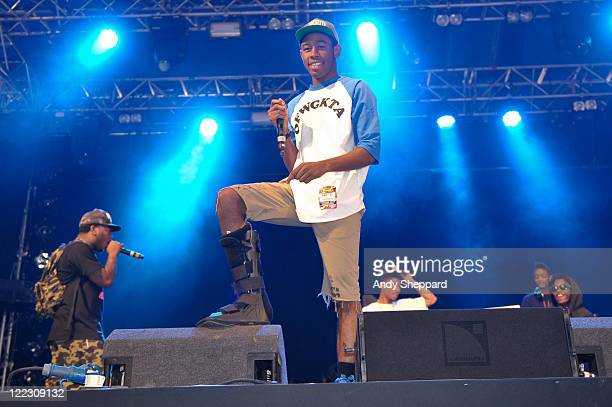 Tyler The Creator of Odd Future Wolf Gang Kill Them All aka OFWGKTA performs on stage during Day 2 Reading Festival 2011 at Richfield Avenue on...