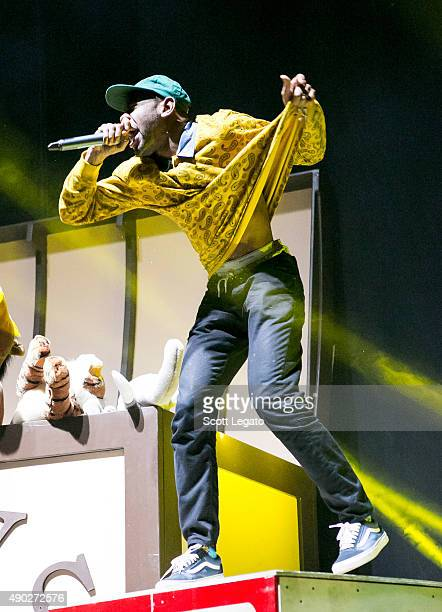 Tyler the Creator performs at DTE Energy Music Theater on September 26 2015 in Clarkston Michigan