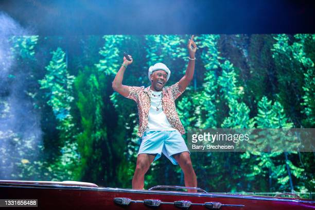 Tyler, the Creator performs at Lollapalooza in Grant Park on July 30, 2021 in Chicago, Illinois.
