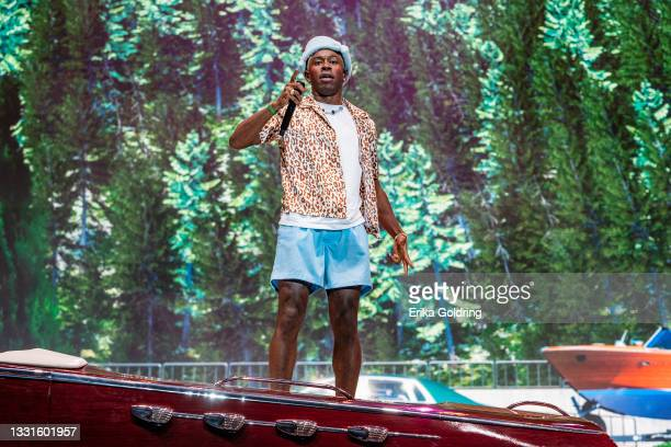 Tyler the Creator performs during 2021 Lollapalooza at Grant Park on July 30, 2021 in Chicago, Illinois.