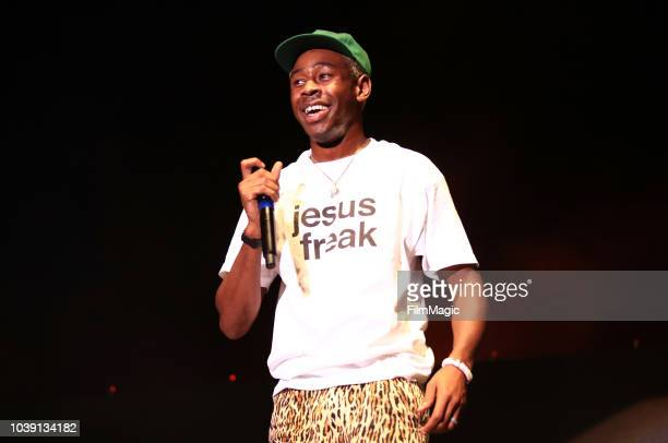 Tyler the Creator performs on Bacardi Sound of Rum Stage during the 2018 Life Is Beautiful Festival on September 23 2018 in Las Vegas Nevada
