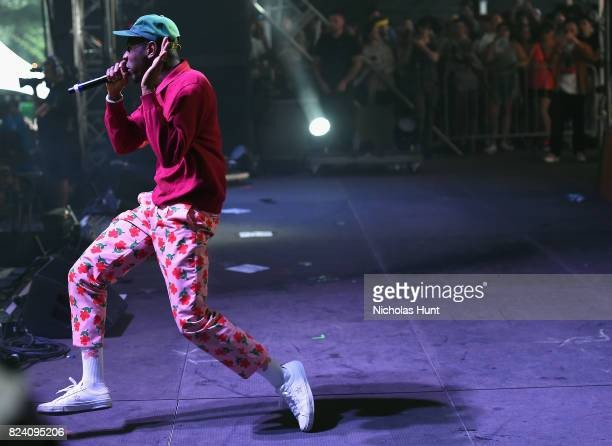 Tyler The Creator performs on the Pavilion stage during the 2017 Panorama Music Festival at Randall's Island on July 28 2017 in New York City
