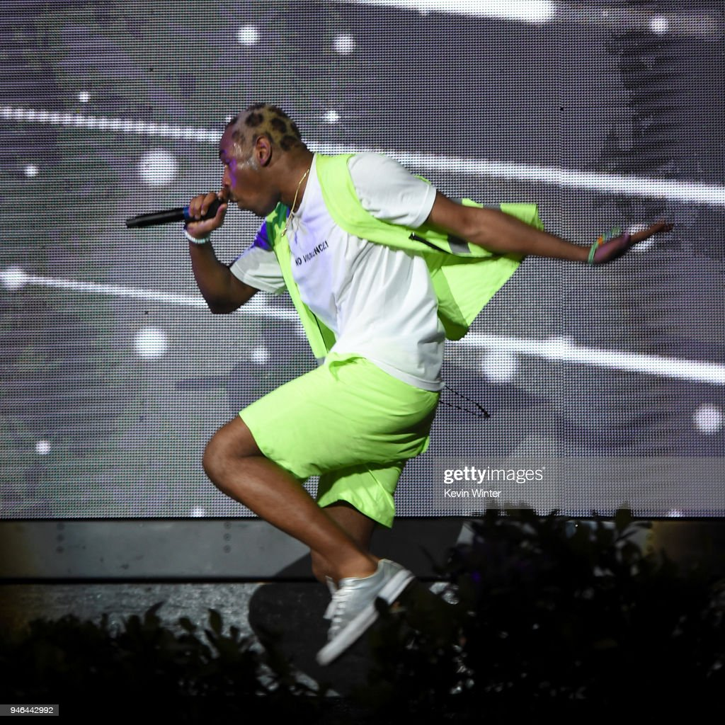 Tyler the Creator performs onstage during 2018 Coachella Valley Music And Arts Festival Weekend 1 at the Empire Polo Field on April 14, 2018 in Indio, California.