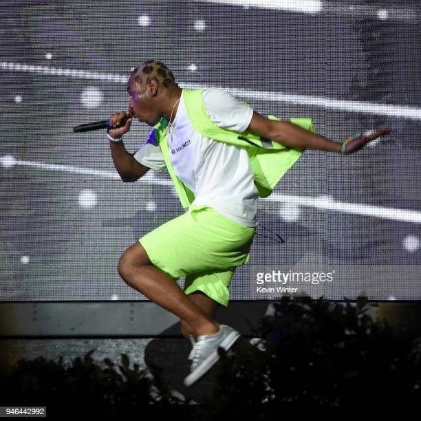 Tyler the Creator performs onstage during 2018 Coachella Valley Music And Arts Festival Weekend 1 at the Empire Polo Field on April 14 2018 in Indio...