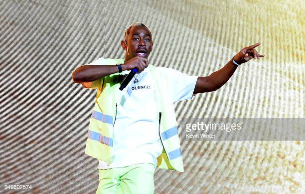 Tyler the Creator performs onstage during the 2018 Coachella Valley Music And Arts Festival at the Empire Polo Field on April 21 2018 in Indio...