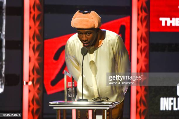 Tyler the Creator speaks onstage during the 2021 BET Hip Hop Awards at Cobb Energy Performing Arts Centre on October 01, 2021 in Atlanta, Georgia.