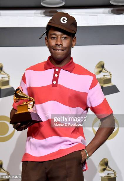 Tyler the Creator winner for the Best Rap Album for Igor poses in the press room during the 62nd Annual GRAMMY Awards at STAPLES Center on January 26...