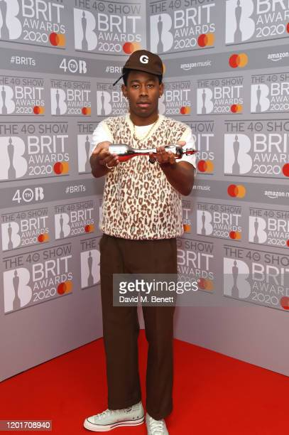Tyler, The Creator, winner of the International Male Solo Artist award, poses in the winners room at The BRIT Awards 2020 at The O2 Arena on February...