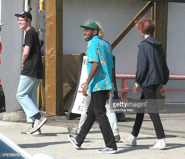 Tyler The Creator with members of 5 Seconds to Summer are seen on July 6 2015 in Los Angeles California