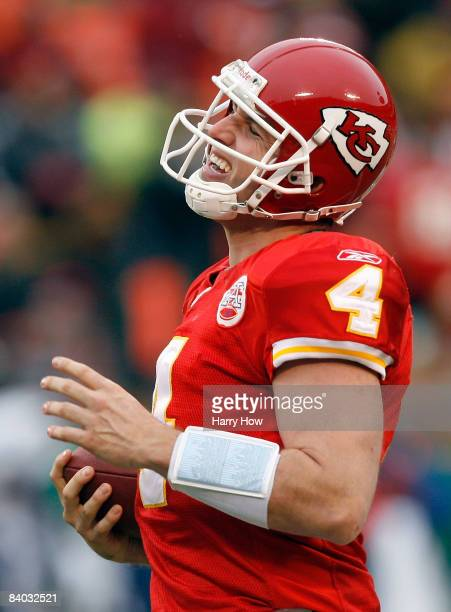 Tyler Thigpen of the Kansas City Chiefs reacts to his run against the San Diego Chargers during the second half on December 14 2008 at Arrowhead...