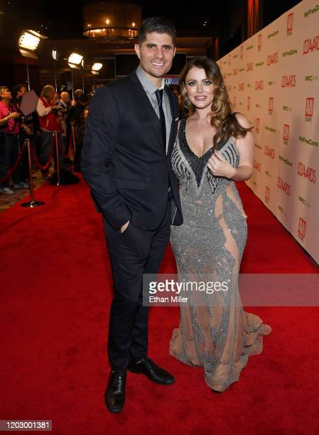 Tyler Thompson and adult film actress Sophie Dee attend the 2020 Adult Video News Awards at The Joint inside the Hard Rock Hotel Casino on January 25...