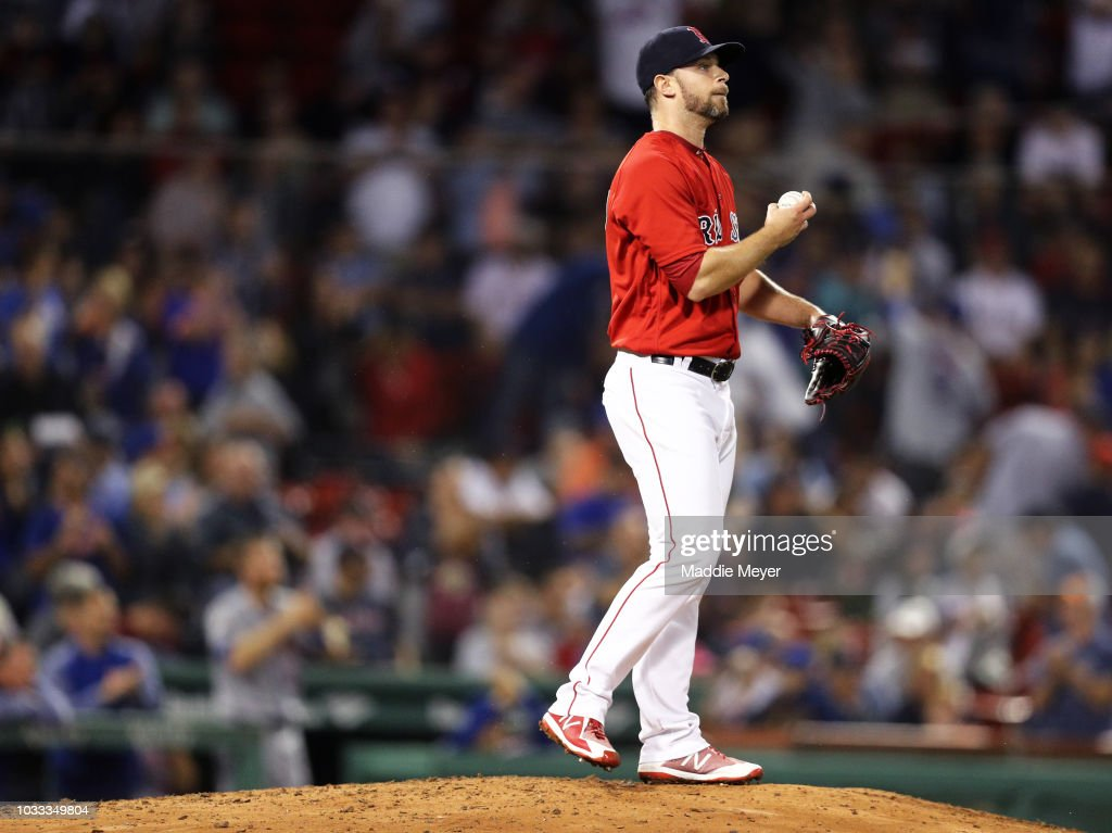 Tyler Thornburg #47 of the Boston Red Sox reacts after Austin Jackson #16 of the New York Mets hit a two run home run during the eighth inning at Fenway Park on September 14, 2018 in Boston, Massachusetts.