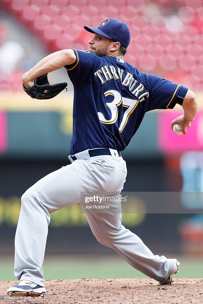 Tyler Thornburg #37 of the Milwaukee Brewers pitches in the eighth inning against the Cincinnati Reds at Great American Ball Park on July 17, 2016 in Cincinnati, Ohio. The Reds defeated the Brewers 1-0.