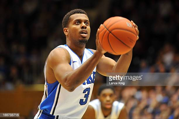 Tyler Thornton of the Duke Blue Devils concentrates at the free throw line against the WinstonSalem State Rams at Cameron Indoor Stadium on November...
