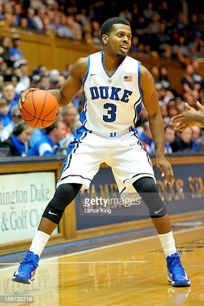 Tyler Thornton of the Duke Blue Devils dribbles against the WinstonSalem State Rams at Cameron Indoor Stadium on November 1 2012 in Durham North...