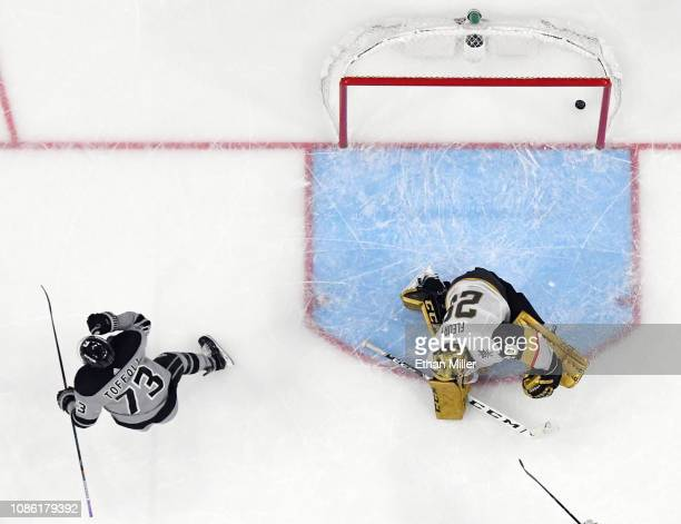 Tyler Toffoli of the Los Angeles Kings celebrates after scoring an overtime goal against MarcAndre Fleury of the Vegas Golden Knights to win their...