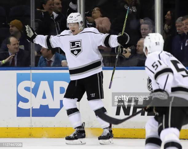 Tyler Toffoli of the Los Angeles Kings celebrates his game winning goal against the New York Rangers at 25 seconds of overtime at Madison Square...